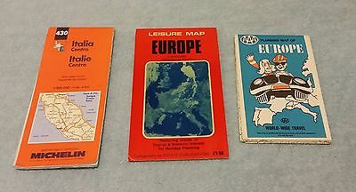 3 Vintage Road Maps Europe Italy AAA Michelin Folding Lot Travel Vacation
