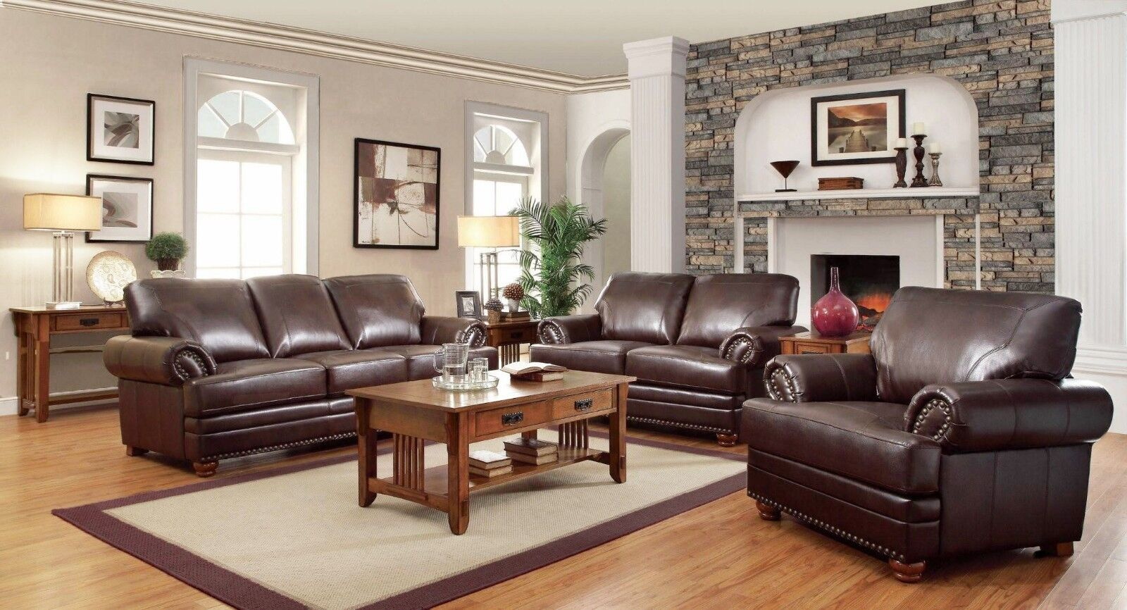Details about Traditional Brown Bonded Leather Sofa Loveseat & Chair 3  Piece Living Room Set