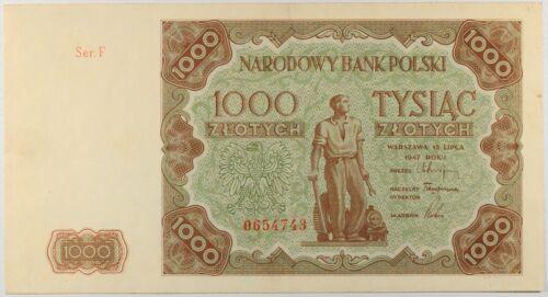 POLAND 1000 ZLOTYCH 1947... P#133...XF+