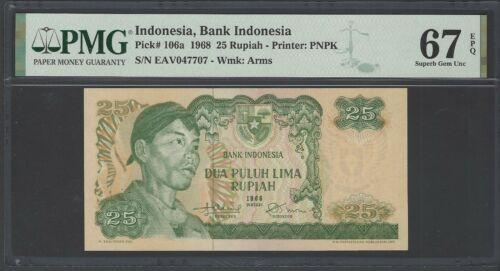 Indonesia 25 Rupiah 1968 P106a Uncirculated Grade 67