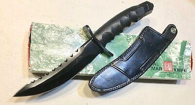 Vintage 1980' Rare Al Mar Warriors Blackened Blade Dagger Knife Sheath Case