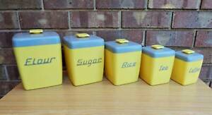 Vintage Retro Yellow & Grey Nally Ware Canister Set