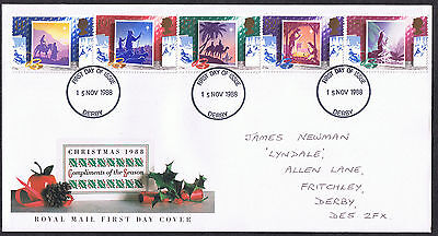 Christmas 1988 First Day Cover -  SG1414 to SG1418 Derby Cancel