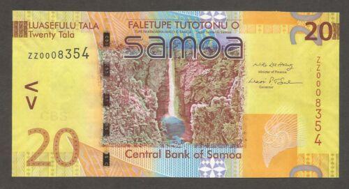 Samoa 20 Tala N.D. (2008); UNC; P-40, L-B115r; Waterfall, Bird; REPLACEMENT