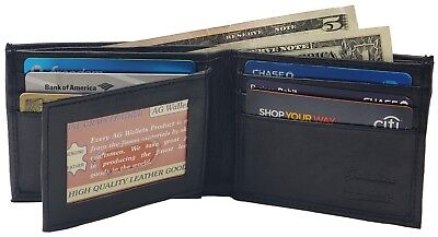 Mens Genuine Leather Black Center Flap Credit Card ID Holder Slim Bifold Wallet
