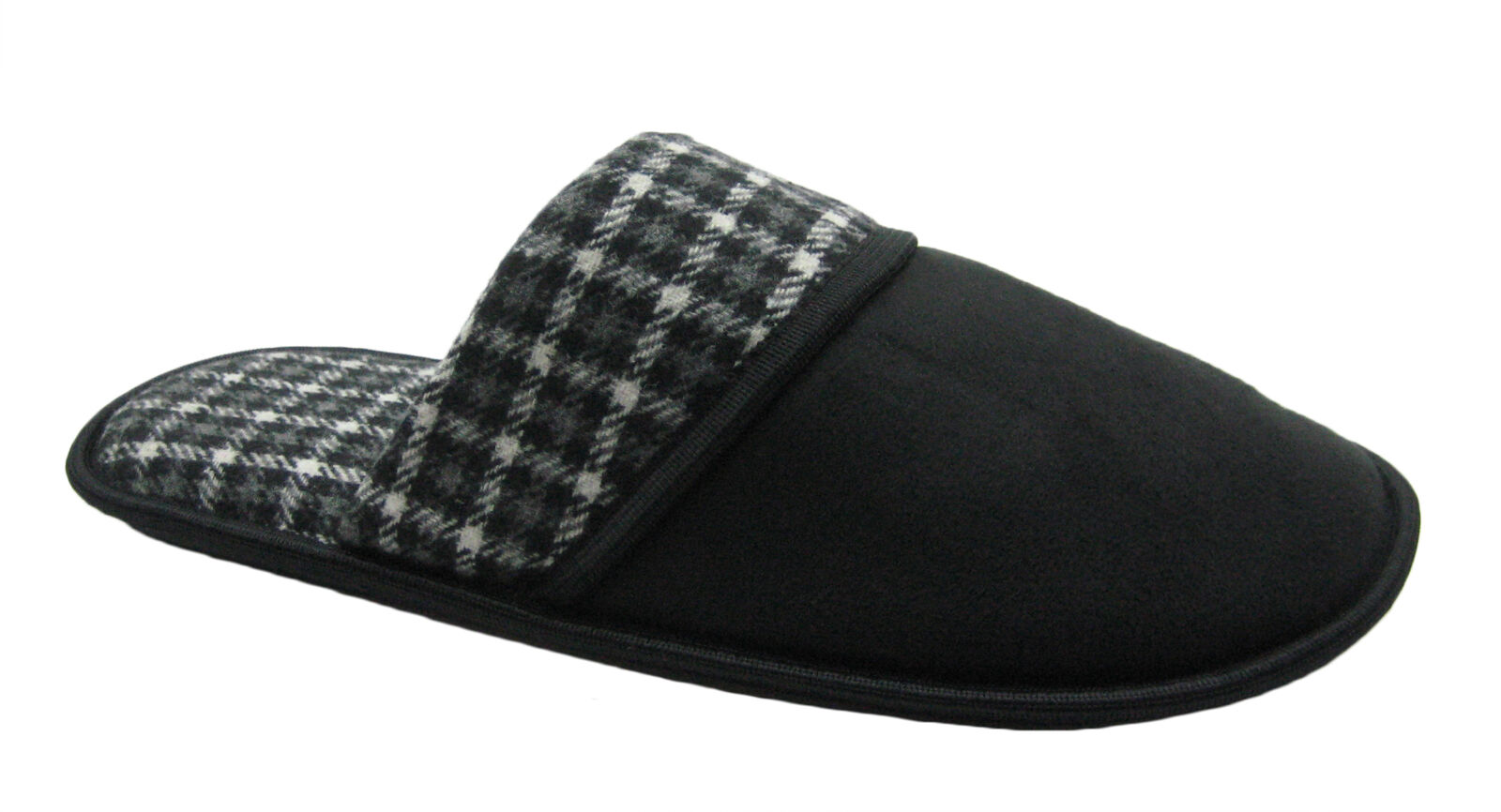 Micro-suede or Plaid Upper Men's Scuff House Slipper