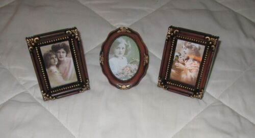 Set of 3=Free Standing Mini Picture Frames Matching Brown/Gold-New Old Stock