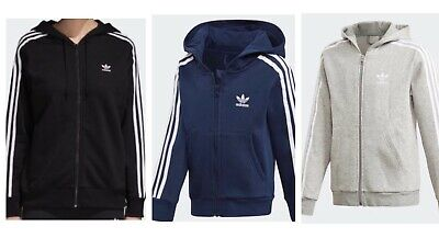 Adidas Men Trefoil Three Stripe Zip Hoodie Sweatshirt.