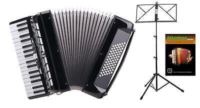 Accordion 72 Bass Keyboard 34 Treble Keys 3 Choir Set Strap Case Stand Black