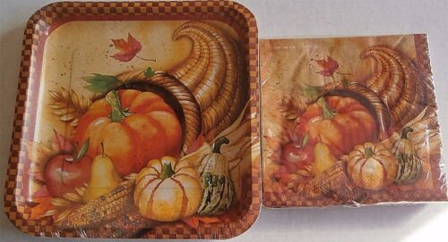 THANKSGIVING Paper Plates & Napkins  BRIGHT CORNUCOPIA