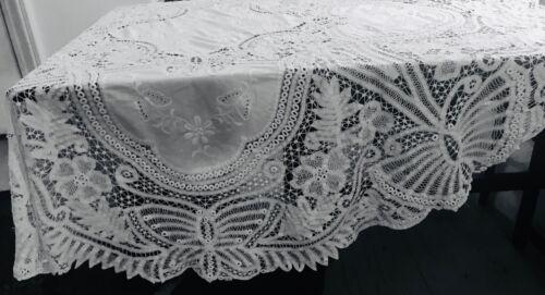 "Antique Edwardian Royal Battenberg Lace Butterfly Round Tea Tablecloth 68""dia,"