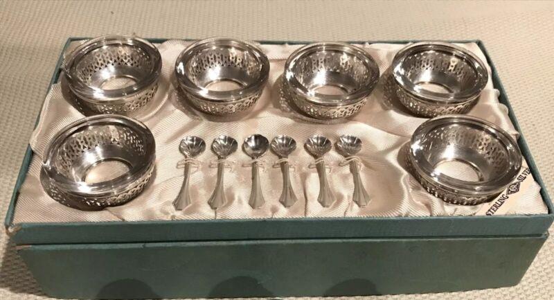 ANTIQUE WEBSTER STERLING SILVER & GLASS SALT CELLAR DIP SET 6 CUPS 6 SPOONS EX!