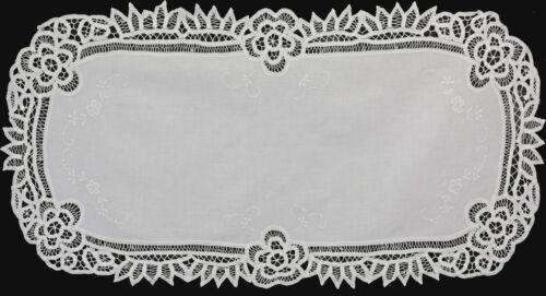 "Battenburg Lace Table Runner 16x34"" Oval White Cotton Handmade Dresser Scarf"