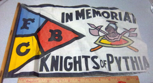 Knights of Pythias flag with wood pole, unique collectible, colorful Knight Logo