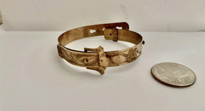 Antique Victorian Edwardian Engraved Buckle Bracelet Primitive