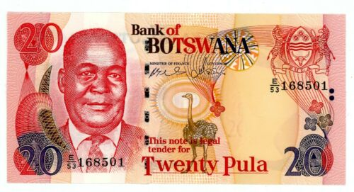 Botswana ... P-21a ... 20 Pula ... ND(1999) ... *UNC *  Wet printing look.