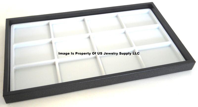 12 Black Trays 12 Space White Jewelry Display