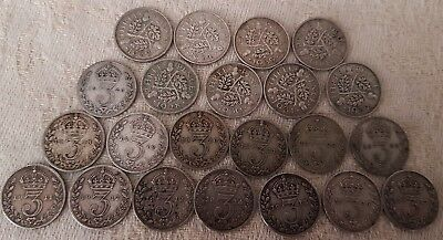 George V 3 Pence 1911-1936 Year Full Run 22 Silver Coins Set LOT 1