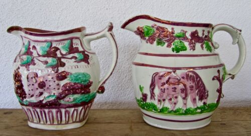 Staffordshire Lustreware Set1800-30 Pink/Copper Pitchers/Jugs:English Sporting
