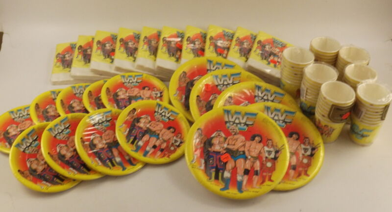 VTG 1980s WWF /World Wrestling Federation Party Supplies! Plates, Napkins, Cups
