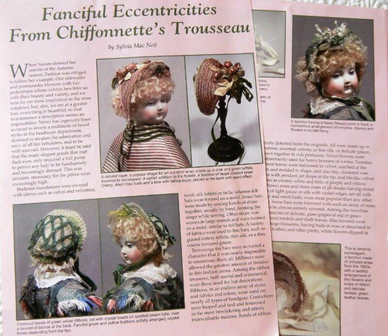 Uncut French Fashion Doll Chiffonette Hat Pattern & Costuming Article