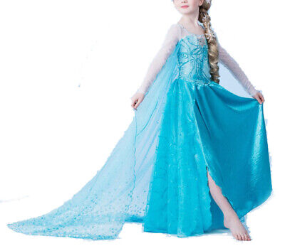 Mädchen Karneval Kostüm-Eiskönigin Elsa Fasching verkleiden Märchen Kleid blau4