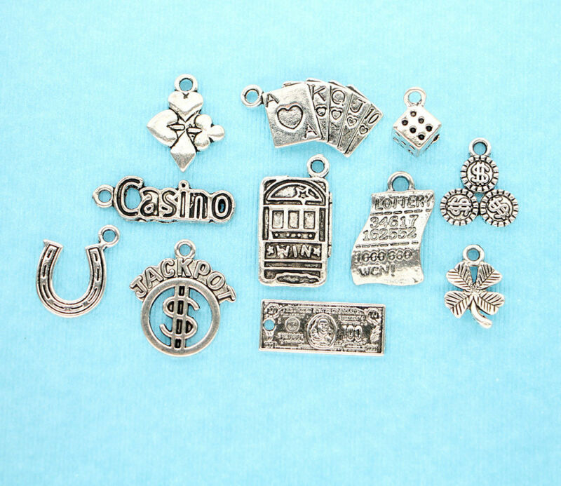 Gambling Charm Collection Antique Silver Tone 11 Different Charms - COL066