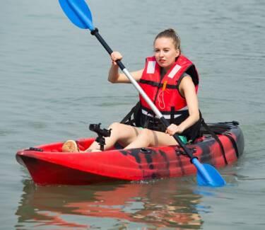 2.95M Single Sit-on Kayak Fishing Boat Canoe 5 Rod Holders Padded