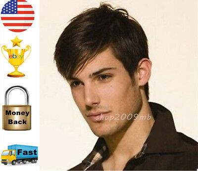 Men Natural Black Hair Wig Wigs Layered Style Mens Short Straight Heat Resistant