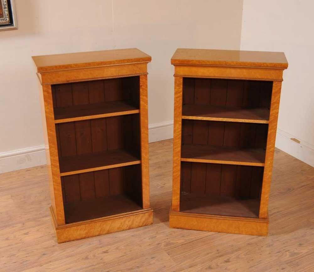 Pair Victorian Maple Open Bookcases Dwarf Bookcase