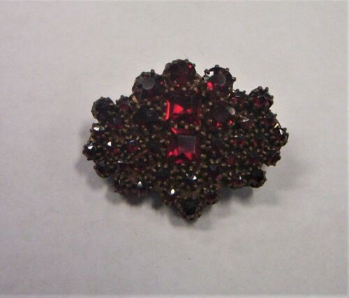 Antique brass Bohemian Garnet pin back Brooch