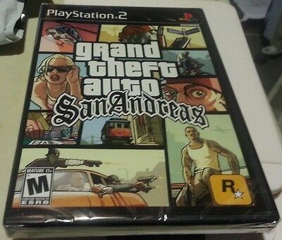 Grand Theft Auto San Andreas Ps2 Black Label Game Sony Yfold Factory Sealed New