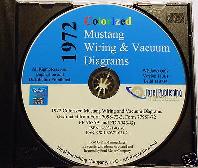 1972 Colorized Mustang Wiring Diagrams (cd-rom)