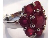 GENUINE 925 SILVER RUBY RING 8.15CT TOTAL CARAT WEIGHT