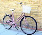TRADITIONAL LADIES PINK TOWN BIKE WITH BASKET AND LOCK!