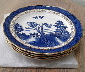 4 x Booths blue and white real old willow A8025 side/ salad plates 21cm diameter.