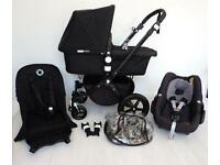 ❌STUNNING BUGABOO CAMELEON 3❌ All Black inc Maxi Cosi Pebble