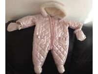 Pink Shimmer Baby Girl Snowsuit 0-3 months