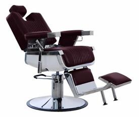 HEAVY DUTY MAROON REAL LEATHER HADI® BARBER CHAIR BC-20,CASH ON COLLECTION ONLY