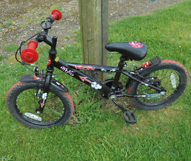 """Apollo Urchin Bike 16""""with stabilisers. Suit 4-6 years."""