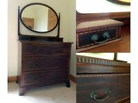 Antique Edwardian mahogany dressing table chest of drawers with oval mirror
