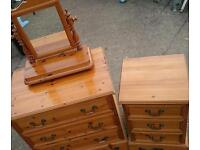 Pine chest of drawers, bedside cabinet and mirror bundle