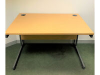 Cantilever Office Desks (Oak colour, 1200mm x 800mm, x8 in total) with Pedestals - V GOOD CONDITION