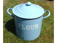 Genuine vintage retro large enamelled flour bin, blue with white lettering