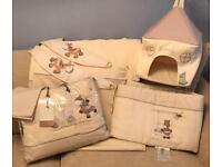 Mamas and papas Zeddy and Parsnip nursery set curtains, quilt, pillow case, bumper & nappy sack