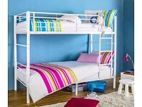 NEW ARRIVAL - BRAND NEW METAL BUNK IN WHITE AND SILVER COLORS WITH 2 MATTRESSES - SAME DAY DELIVERY