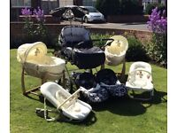 Twin Pram, 2x Moses baskets and Carry chairs. All in excellent condition