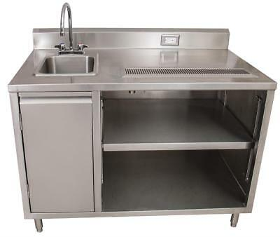Bk Resources Beverage Counter Table Sink On Left Bevt-3060l All Stainless Steel