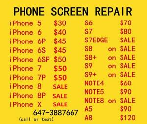 [ PROMOTION  SAMSUNG iPhone repair ]iPhoneX  iPhone6 $40,iPhone7$50 SAMSUNG S7special $80 S7edge S8 S9 NOTE5 NOTE8 NOTE9