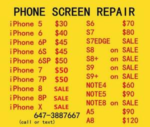 [ SPECIAL PRICE ] iPhone SAMSUNG fix on SPOT, SAMSUNG S8 S8+ S9 NOTE8 SCREEN! iphone6 screen $40, iPad AIR2 $100